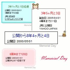 記念日表示のメモリアルディ ブログパーツイメージ
