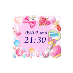 【10種類】キラキラ光る☆キュートなデジタル時計 ブログパーツイメージ
