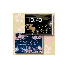 【2種類】キラキラ光る☆和風時計 ブログパーツイメージ